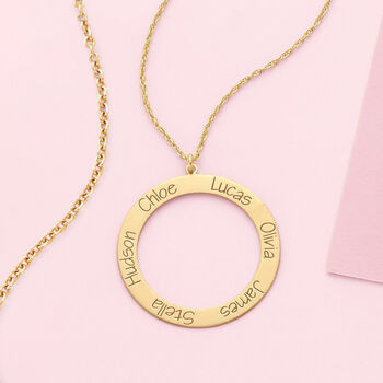 """14kt Yellow Gold Personalized Open Circle Pendant Necklace. 18"""", , default"""