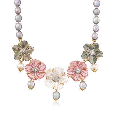 Italian Multicolored Mother-Of-Pearl and 8.5-9.5mm Multicolored Cultured Pearl Floral Bib Necklace in 18kt Gold Over Sterling, , default