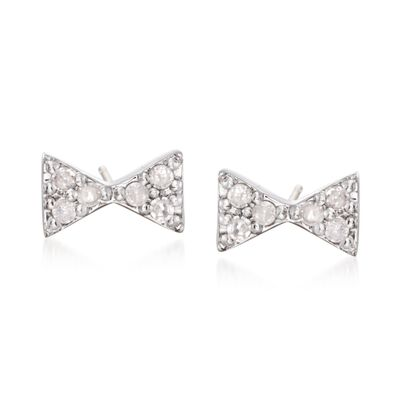 .10 ct. t.w. Diamond Bow Tie Stud Earrings in Sterling Silver, , default