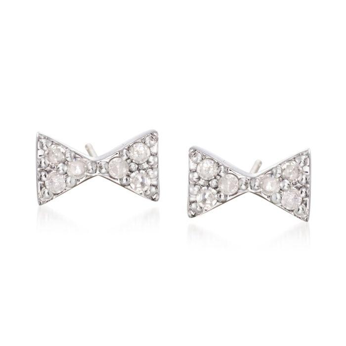 .10 ct. t.w. Diamond Bow Tie Stud Earrings in Sterling Silver, , default