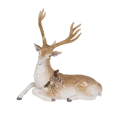 "Fitz and Floyd ""Forest Frost"" Sitting Deer Figurine, , default"