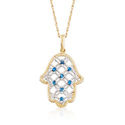 ".15 ct. t.w. Blue Diamond Hamsa Hand Pendant Necklace in 14kt Two-Tone Gold. 18"", , default"