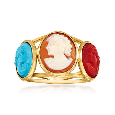 Italian Multicolored Cameo Ring in 18kt Gold Over Sterling