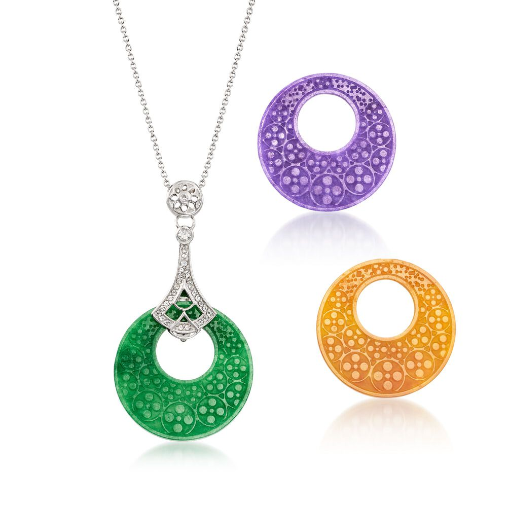 2dc6a99b0 Multicolored Interchangeable Jade Disc Pendant Necklace with .30 ct. t.w. White  Topaz in Sterling