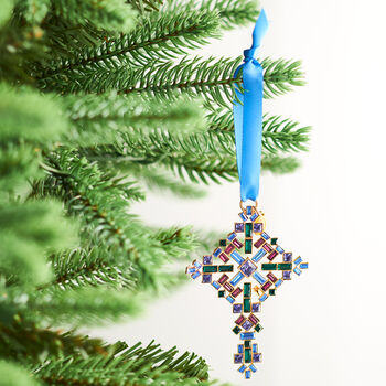 Ross-Simons 2018 Annual Multicolored Crystal Christmas Cross Ornament in Gold Plate - 2nd Edition, , default