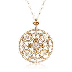 """C. 2000 Vintage 2.00 ct. t.w. Diamond Floral Openwork Pendant Necklace in 14kt Yellow Gold. 18"""", , default"""