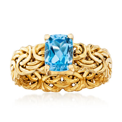 1.80 Carat Blue Topaz Byzantine Ring in 14kt Yellow Gold, , default
