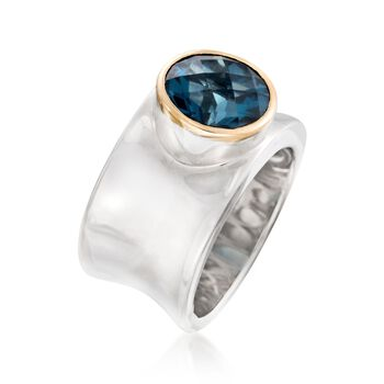 4.70 Carat London Blue Topaz Curved Ring in Sterling Silver and 14kt Yellow Gold, , default