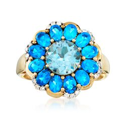 2.30 Carat Sky Blue Topaz and 2.10 ct. t.w. Neon Blue Apatite Ring With Diamonds in 14kt Yellow Gold, , default