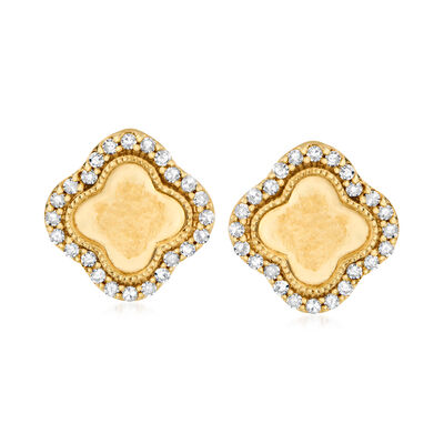 .18 ct. t.w. Diamond Clover Stud Earrings in 18kt Gold Over Sterling
