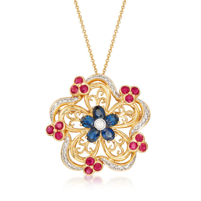 C. 1990 Vintage 4.35 ct. t.w. Multi-Gemstone Flower Pin Pendant Necklace in 18kt Yellow Gold, , default