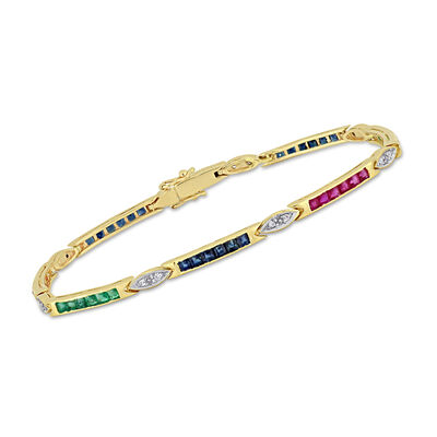 2.70 ct. t.w. Multi-Gemstone Tennis Bracelet with Diamond Accents in 14kt Yellow Gold, , default