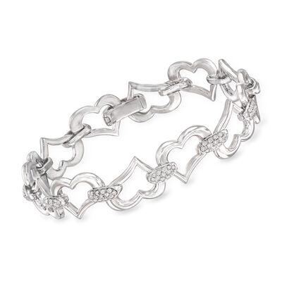 C. 1990 Vintage Piaget 1.50 ct. t.w. Diamond Heart Bracelet in 18kt White Gold, , default