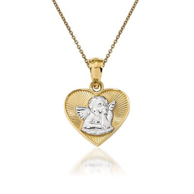 14kt Yellow Gold Guardian Angel Pendant Necklace, , default