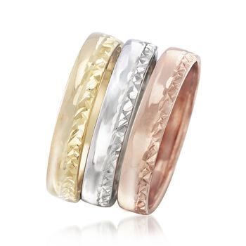 Italian 14kt Tri-Colored Jewelry Set: Three Diamond-Cut Bands