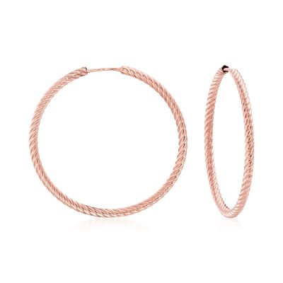 14kt Rose Gold Twisted Tube Hoop Earrings, , default