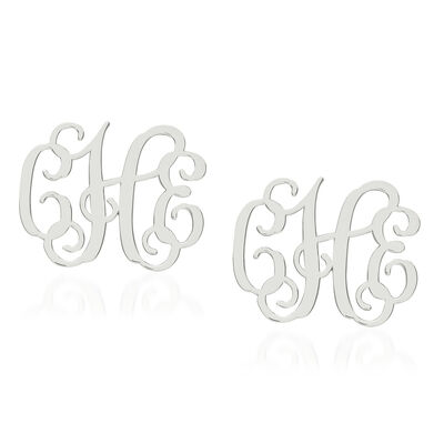 Sterling Silver Medium Laser Polished Monogram Post Earrings, , default