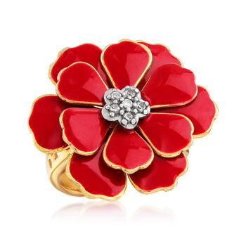 Italian Red Enamel Flower Ring in 18kt Gold Over Sterling