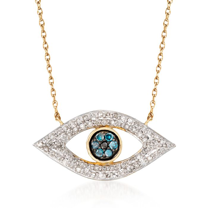 .25 ct. t.w. Multi-Colored Diamond Evil Eye Necklace in 14kt Yellow Gold, , default