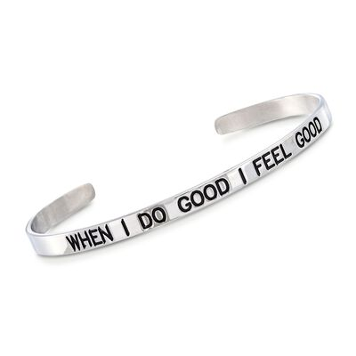 "Italian Sterling Silver ""When I do Good I Feel Good"" Cuff Bracelet with Black Enamel, , default"