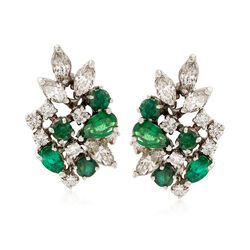 C. 1960 Vintage 2.00 ct. t.w. Emerald and 1.90 ct. t.w. Diamond Cluster Earrings in 14kt White Gold  , , default