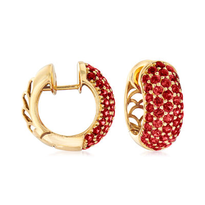 C. 1980 Vintage 4.40 ct. t.w. Ruby Hoop Earrings in 18kt Yellow Gold, , default