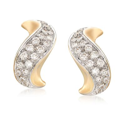 C. 1980 Vintage 1.50 ct. t.w. Pave Diamond Curve Earrings in 14kt Yellow Gold