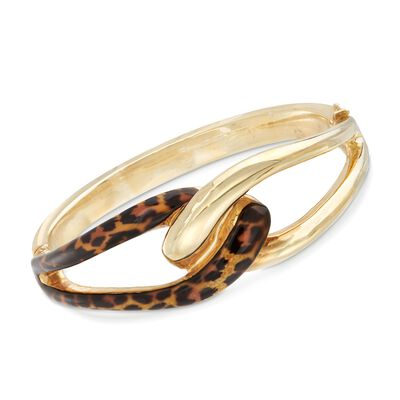 Italian Leopard Print Enamel and 18kt Gold Over Sterling Bangle Bracelet, , default