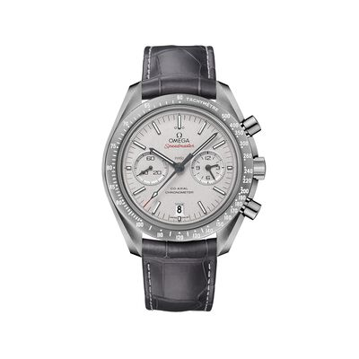 Omega Speedmaster Dark Side of the Moon Men's 44.25mm Gray Ceramic Watch with Gray Leather Strap