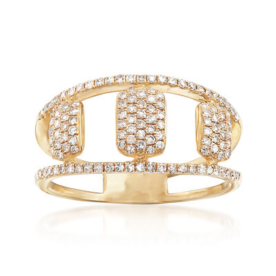 .45 ct. t.w. Pave Diamond Openwork Ring in 14kt Yellow Gold, , default