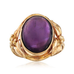 C. 1940 Vintage 8.75 Carat Amethyst Cabochon Ring in 14kt Yellow Gold, , default