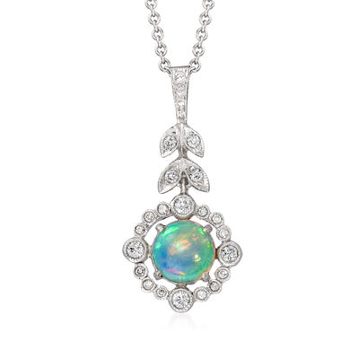 C. 2000 Vintage Black Opal and .20 ct. t.w. Diamond Pendant Necklace in 18kt and 14kt White Gold
