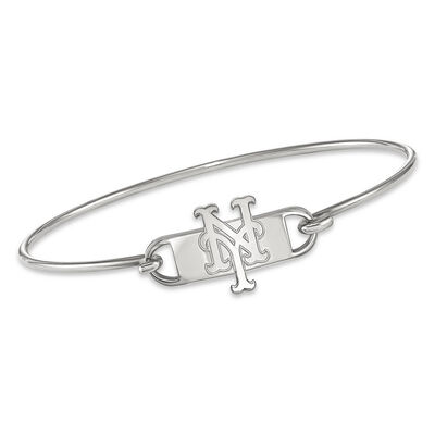"""Sterling Silver MLB New York Mets Small Center Wire Bangle Bracelet. 7"""""""