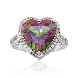 5.75 Carat Heart-Shaped Mystic Topaz and .40 ct. t.w. White Zircon Ring in Sterling Silver, , default