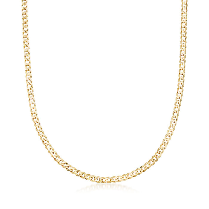 """Men's 14kt Yellow Gold Curb-Link Necklace. 24"""""""