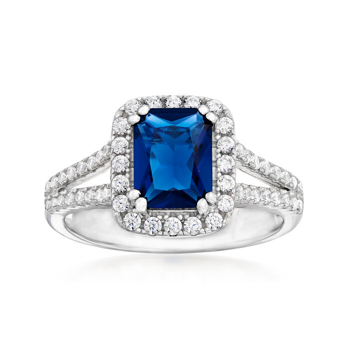 1.75 Carat Simulated Sapphire and .50 ct. t.w. CZ Ring in Sterling Silver