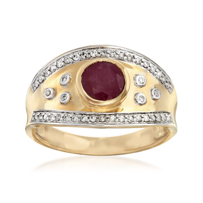 1.30 Carat Ruby and .17 ct. t.w. Diamond Ring in 14kt Yellow Gold, , default