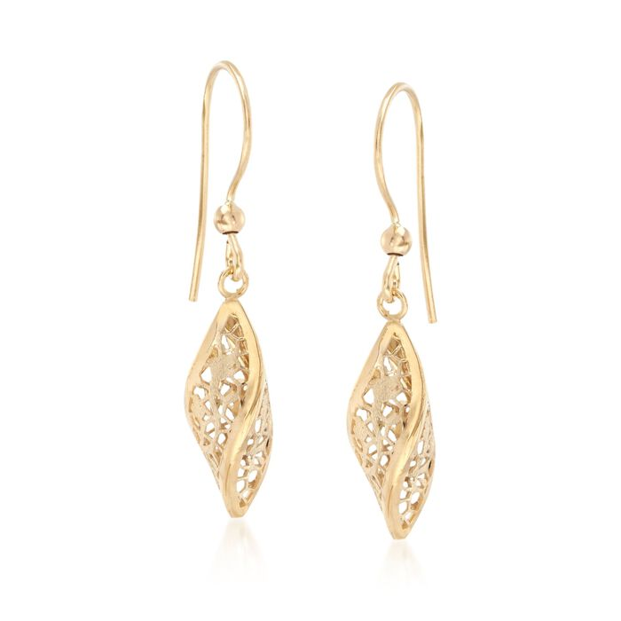 Italian 18kt Yellow Gold Floral Openwork Twist Earrings, , default