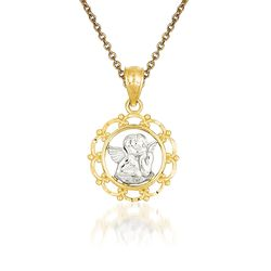 "14kt Yellow Gold Cherub Pendant Necklace. 18"", , default"