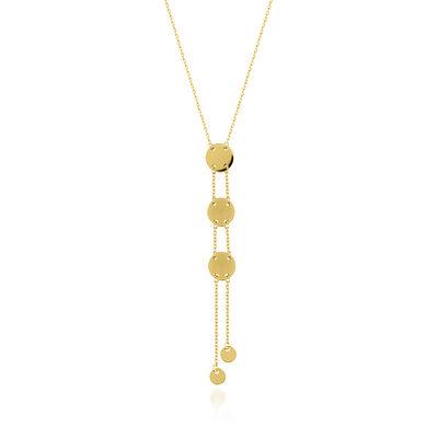 14kt Yellow Gold Disc Drop Lariat Necklace, , default