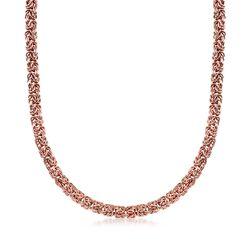 18kt Rose Gold Over Sterling Silver Byzantine Necklace, , default