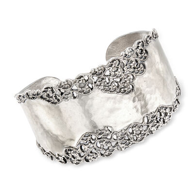 Sterling Silver Hammered and Polished Filigree Edge Wide Cuff Bangle Bracelet, , default