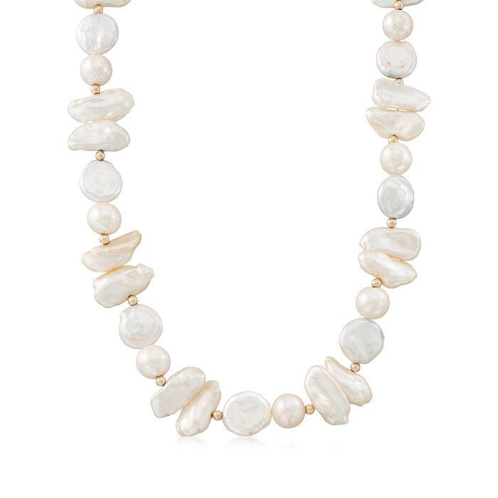 Cultured Pearl Necklace in 14kt Yellow Gold, , default