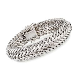 "Sterling Silver Two-Row Curb-Link Bracelet. 7"", , default"