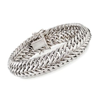 """Sterling Silver Two-Row Curb-Link Bracelet. 7"""", , default"""