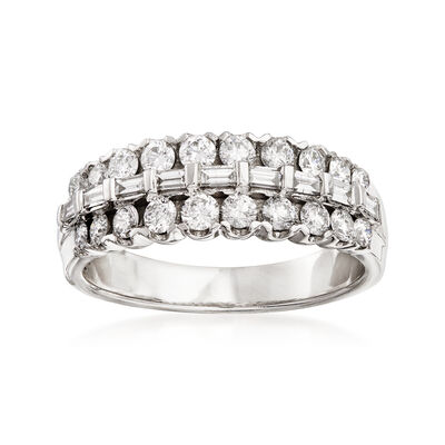 1.00 ct. t.w. Round and Baguette Diamond Ring in 14kt White Gold