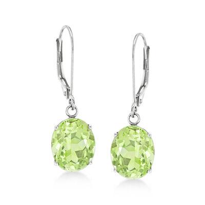 4.50 ct. t.w. Peridot Drop Earrings in 14kt White Gold, , default