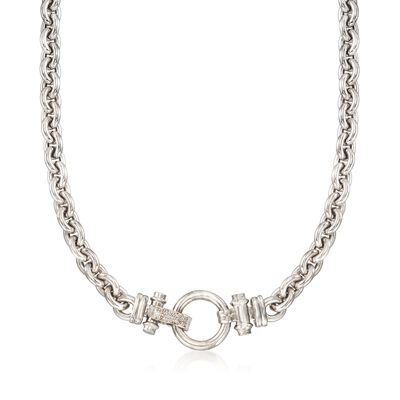 Sterling Silver Link Necklace with Diamond Accents, , default