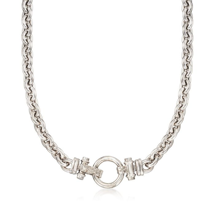 "Sterling Silver Link Necklace With Diamond Accents. 18"", , default"