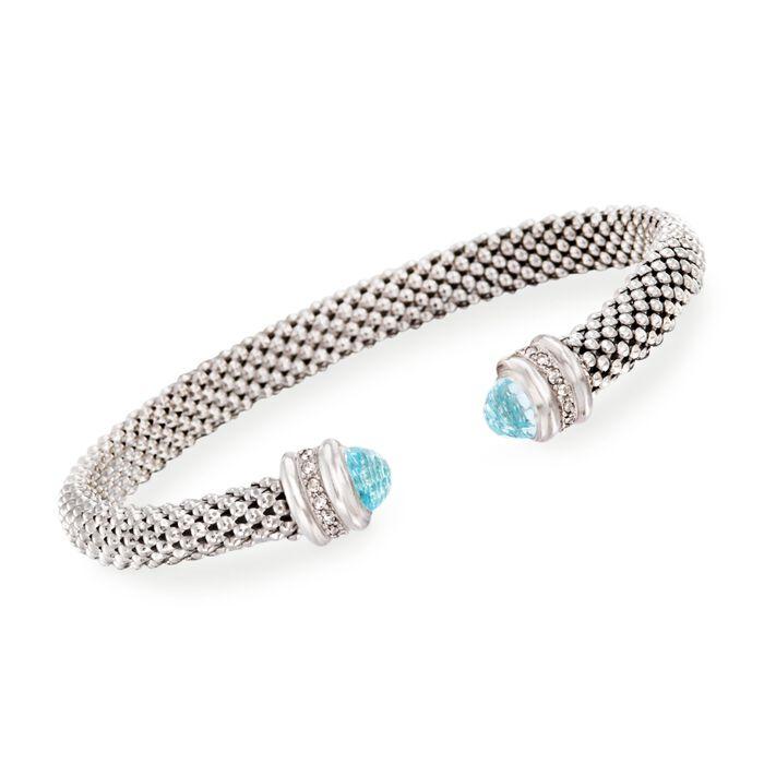"""Phillip Gavriel """"Popcorn"""" .40 ct. t.w. Blue Topaz and .14 ct. t.w. Diamond Cuff Bracelet in Sterling Silver. 7"""", , default"""